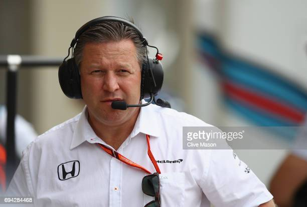 McLaren Executive Director Zak Brown in the Pitlane during practice for the Canadian Formula One Grand Prix at Circuit Gilles Villeneuve on June 9...