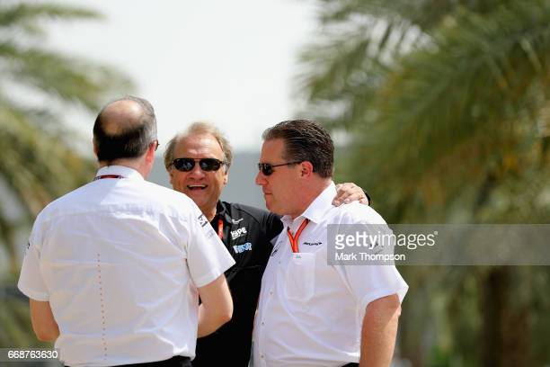 McLaren Executive Director Zak Brown Robert Fernley Deputy Team Principal of Force India and Jonathan Neale Chief Operating Officer of McLaren F1...