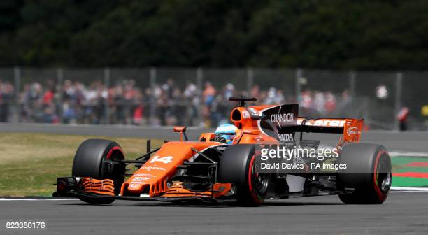 McLaren Fernando Alonso during second practice of the 2017 British Grand Prix at Silverstone Circuit Towcester