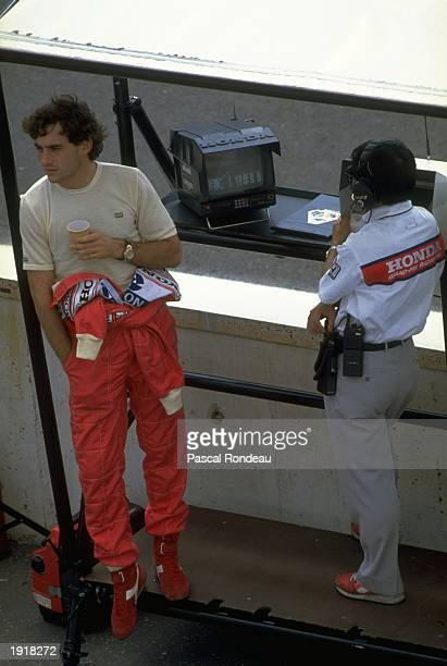 McLaren Honda driver Ayrton Senna of Brazil relaxes before the Hungarian Grand Prix at the Hungaroring circuit in Budapest Hungary Senna finished in...