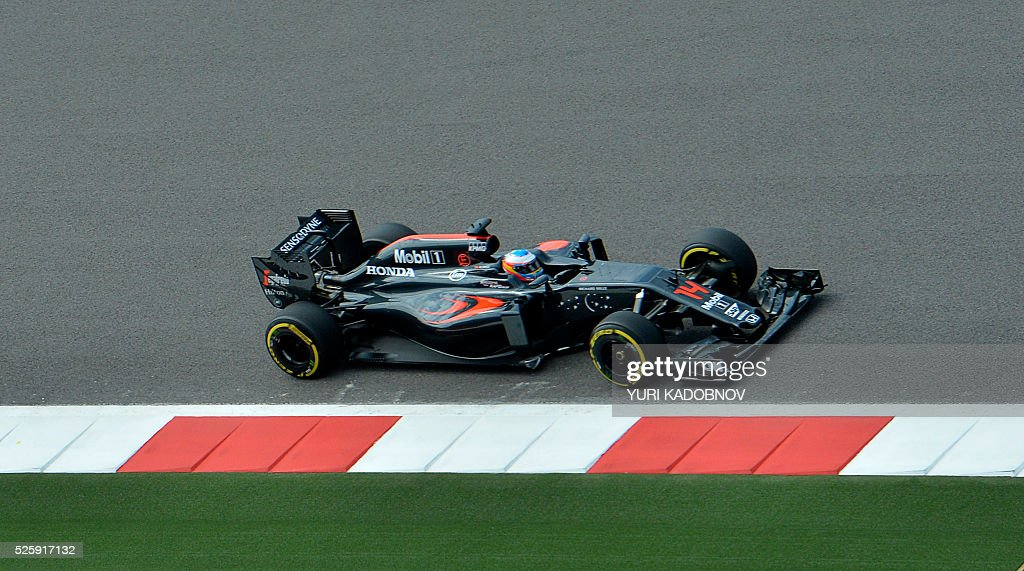 McLaren Honda F1 Team's Spanish driver Fernando Alonso steers his car during the first practice session of the Formula One Russian Grand Prix at the Sochi Autodrom circuit on April 29, 2016. / AFP / YURI