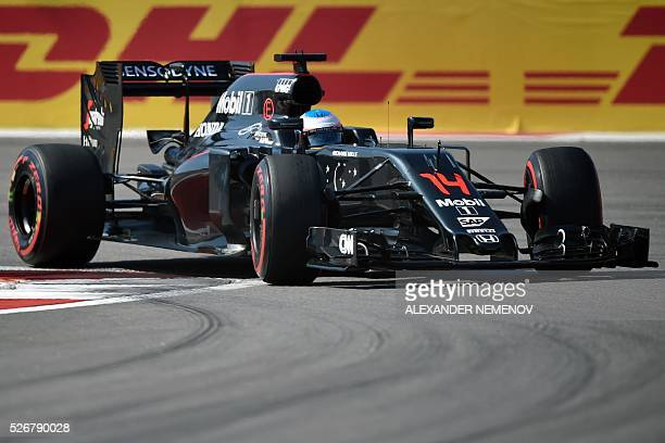 McLaren Honda F1 Team's Spanish driver Fernando Alonso steers his car during the Formula One Russian Grand Prix at the Sochi Autodrom circuit on May...