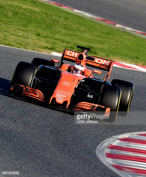 McLaren Honda's Belgian driver Stoffel Vandoorne drives at the Circuit de Catalunya on March 2 2017 in Montmelo on the outskirts of Barcelona during...