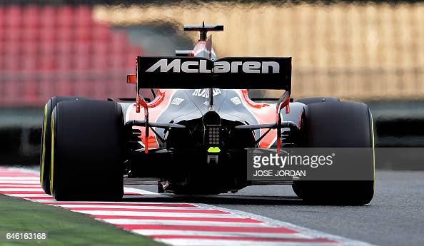 McLaren Honda's Belgium driver Stoffel Vandoorme drives at the Circuit de Catalunya on February 28 2017 in Montmelo on the outskirts of Barcelona...