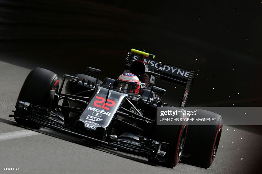 McLaren Honda's British driver Jenson Button drives during the first practice session at the Monaco street circuit, on May 26, 2016 in Monaco, three days ahead of the Monaco Formula 1 Grand Prix. / AFP / JEAN