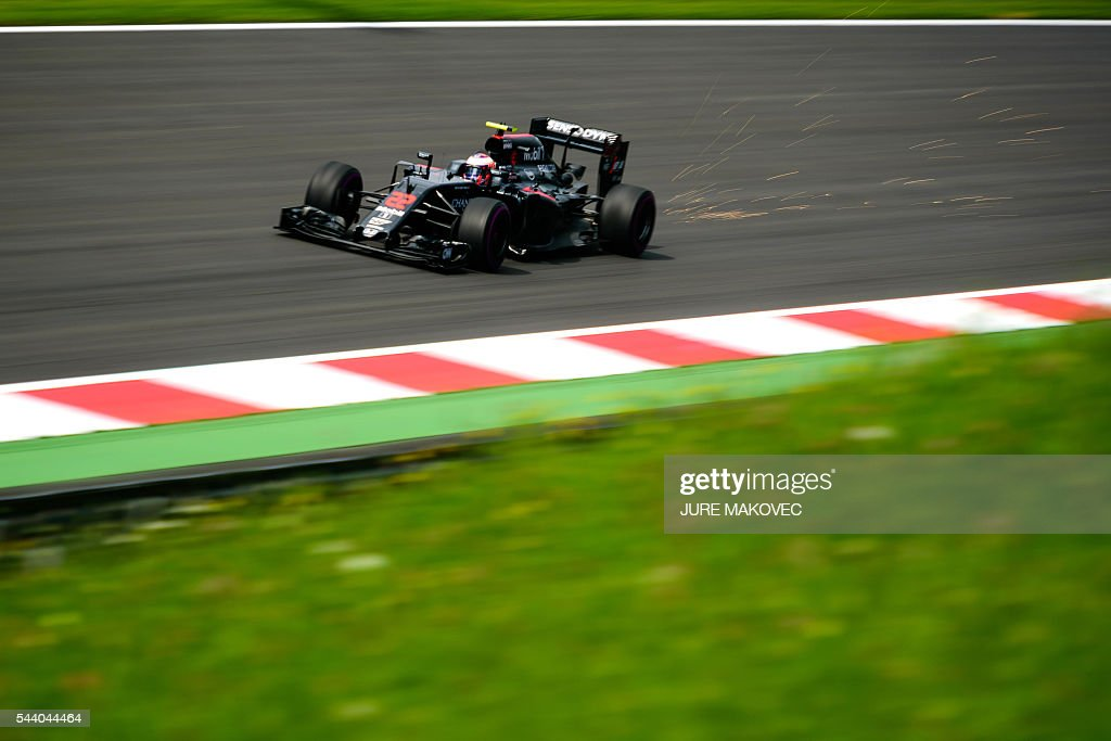 McLaren Honda's British driver Jenson Button drives during the first practice session of the Formula One Grand Prix of Austria at the Red Bull Ring in Spielberg, Austria on July 1, 2016. / AFP / JURE