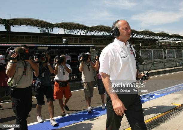McLaren Mercedes CEO Ron Dennis is center of attention for the worlds media during practice for the Hungarian Grand Prix
