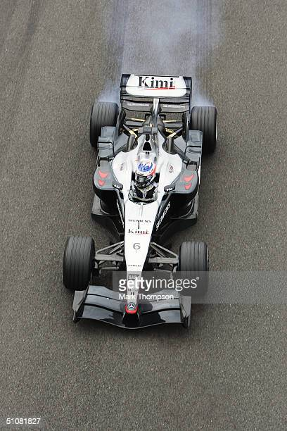 Mclaren Mercedes driver Kimi Raikkonen of Finland in action during the 2004 Formula One British Grand Prix held on July 11 2004 at Silverstone in...