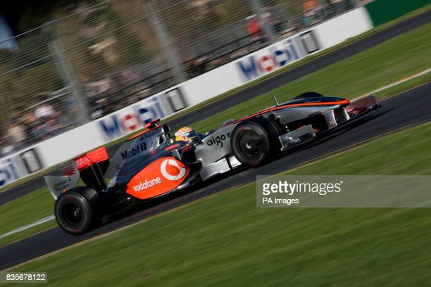 McLaren Mercedes driver Lewis Hamilton during the first practice at Albert Park