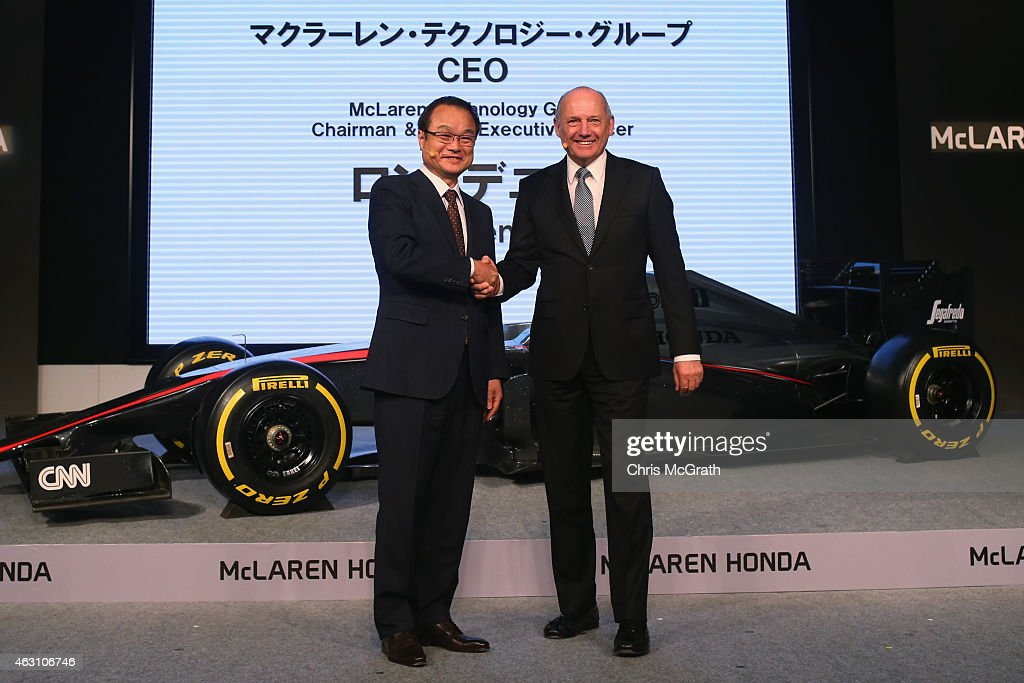 McLaren Technology Group Chairman and Chief Executive Officer <a gi-track='captionPersonalityLinkClicked' href=/galleries/search?phrase=Ron+Dennis&family=editorial&specificpeople=210506 ng-click='$event.stopPropagation()'>Ron Dennis</a> (R) and Honda Motor Co.,Ltd. President, Chief Executive Officer and Representative Director <a gi-track='captionPersonalityLinkClicked' href=/galleries/search?phrase=Takanobu+Ito&family=editorial&specificpeople=5696906 ng-click='$event.stopPropagation()'>Takanobu Ito</a> shake hands during a press conference at the Honda Motor Co. headquarters on February 10, 2015 in Tokyo, Japan. Honda Motor Co., Ltd. held a press conference in the run-up to the Australian Grand Prix of the FIA Formula One World Championship (F1) happening in March 13-15, 2015. McLaren-Honda drivers Fernando Alonso and Jenson Button expressed their enthusiasm for the first race.