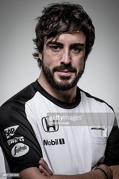 McLarenHonda driver Fernando Alonso poses for photographs in a portrait session at the Honda Motor Co headquarters on February 10 2015 in Tokyo Japan...