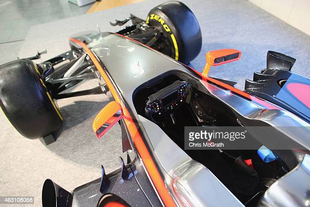 McLarenHonda MP430 is displayed at the press conference at the Honda Motor Co headquarters on February 10 2015 in Tokyo Japan Honda Motor Co Ltd held...