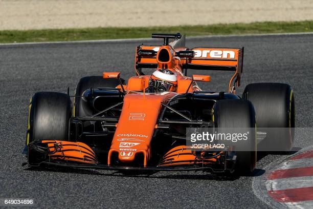 McLaren's Belgian driver Stoffel Vandoorne drives at the Circuit de Barcelona Catalunya on March 7 2017 in Montmelo on the outskirts of Barcelona...