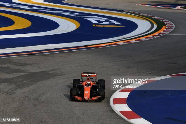 McLaren's Belgian driver Stoffel Vandoorne drives during the first practice session of the Formula One Singapore Grand Prix in Singapore on September...