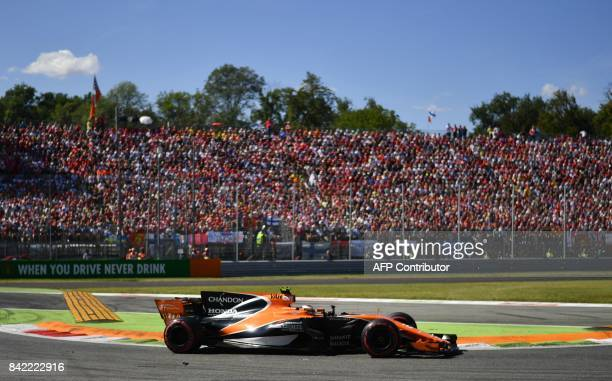 McLaren's Belgian driver Stoffel Vandoorne drives during the Italian Formula One Grand Prix at the Autodromo Nazionale circuit in Monza on September...