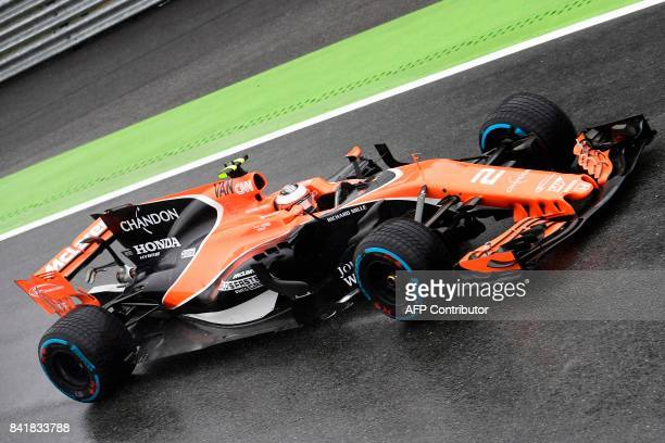 McLaren's Belgian driver Stoffel Vandoorne drives during the qualifying session at the Autodromo Nazionale circuit in Monza on September 2 2017 ahead...