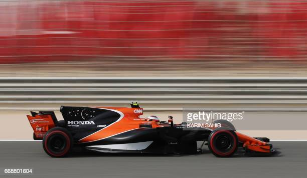 McLaren's Belgian driver Stoffel Vandoorne drives his car during the third practice session ahead of qualifying for the Bahrain Formula One Grand...