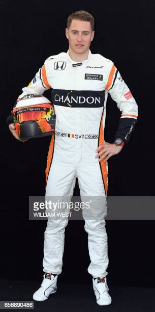 McLaren's Belgian driver Stoffel Vandoorne poses for a photo in Melbourne on March 23 ahead of the Formula One Australian Grand Prix / AFP PHOTO /...