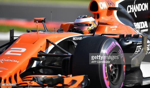 McLaren's Belgian driver Stoffel Vandoorne powers his car during the third practice session of the F1 Mexico Grand Prix at the Hermanos Rodriguez...