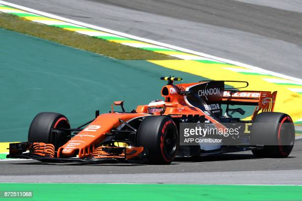 McLaren's Belgian driver Stoffel Vandoorne powers his car during the Brazilian Formula One Grand Prix first practice session at the Interlagos...