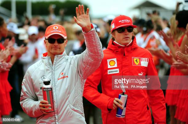 McLaren's Heikki Kovalainen left and Ferrari's Kimi Raikkonen at The Santander British Grand Prix at Silverstone