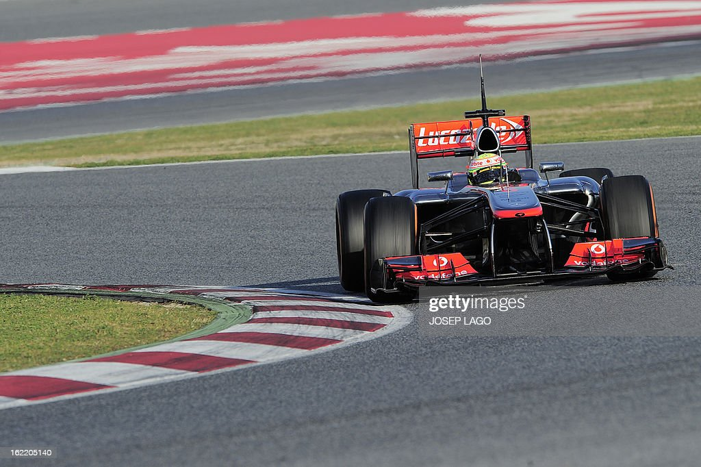 McLaren's Mexican driver Sergio Perez drives during the second day of Formula One testing at the Catalunya racetrack in Montmelo, near Barcelona, on February 20, 2013.