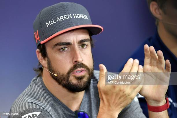 McLaren's Spanish driver Fernando Alonso attends a press conference ahead at the Hungaroring circuit in Budapest on July 27 2017 prior to the...