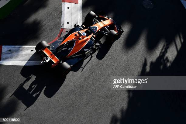 McLaren's Spanish driver Fernando Alonso steers his car during the second practice session of the Formula One Azerbaijan Grand Prix at the Baku City...