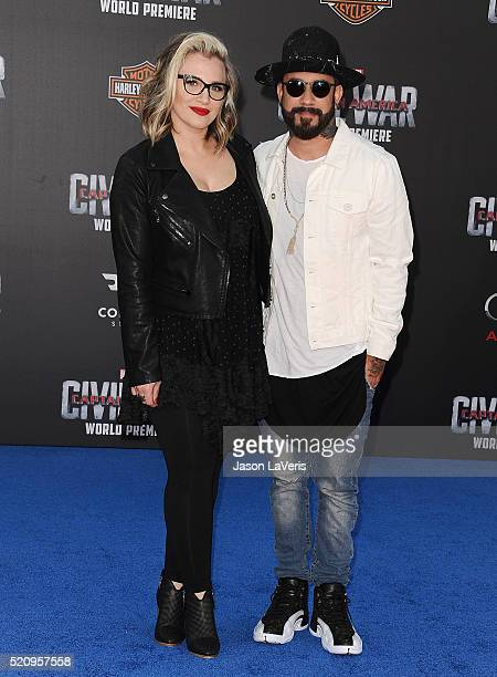 J McLean and Rochelle Deanna Karidis attend the premiere of 'Captain America Civil War' at Dolby Theatre on April 12 2016 in Hollywood California