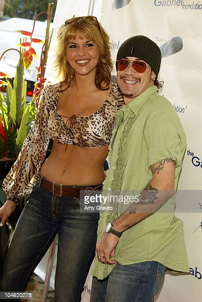 A J McLean and Sarah Martin during The Gabriel Foundation Presents 'Parrots In Paradise' at The Playboy Mansion in Westwood California United States