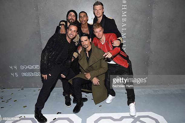 A J McLean Howie Dorough Kevin Richardson Brian Littrell and Nick Carter of the Backstreet Boys pose with Creative Director for Balmain Olivier...