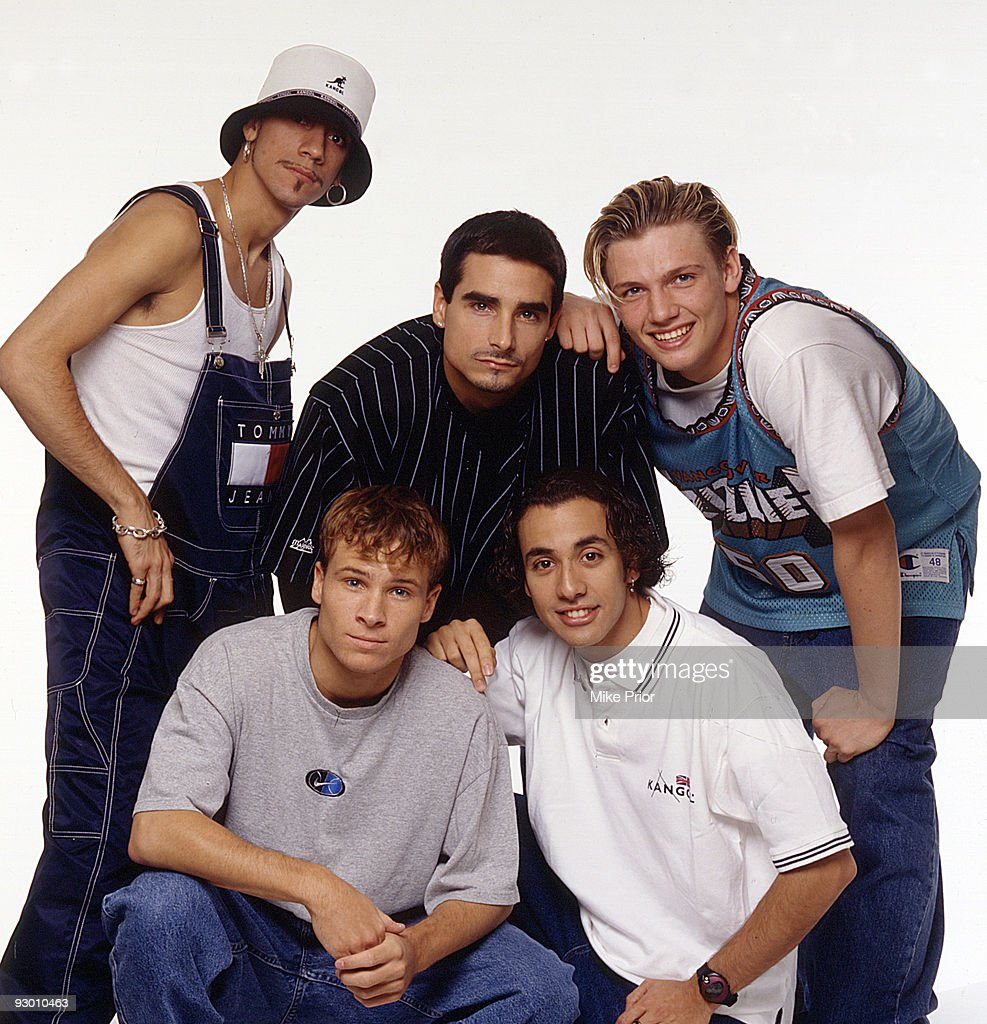 LR AJ McLean Kevin Richardson Nick Carter Brian Littrell and Howie Dorough of American boy band the Backstreet Boys pose for a group studio portrait...
