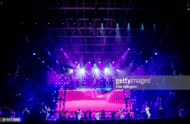 AJ McLean Nick Carter Brian Littrell Howie Dorough and Kevin Richardson of Backstreet Boys perform onstage headlining Day 4 of the 50th Festival...