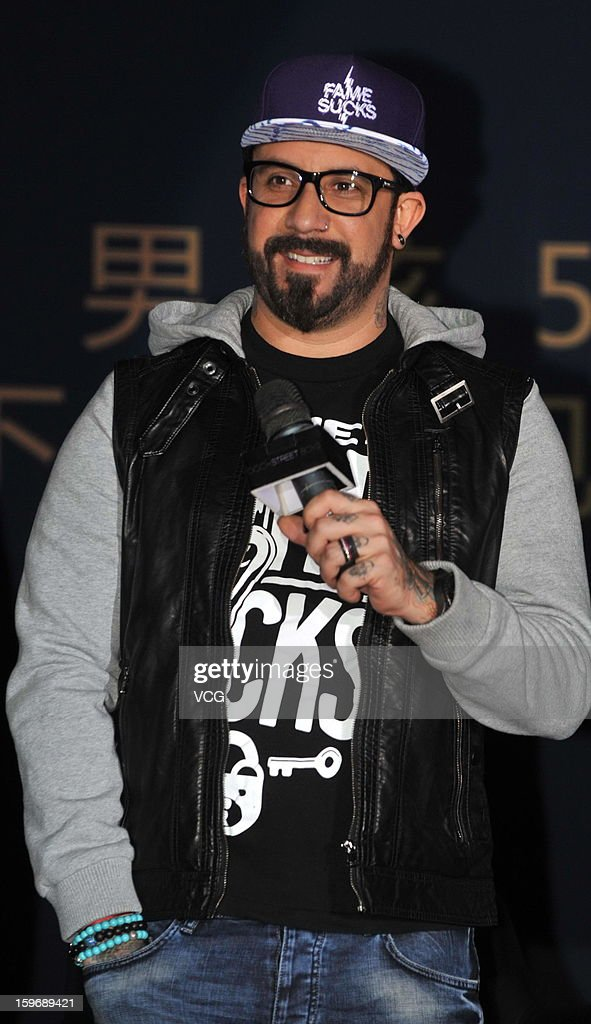 <a gi-track='captionPersonalityLinkClicked' href=/galleries/search?phrase=AJ+McLean&family=editorial&specificpeople=208803 ng-click='$event.stopPropagation()'>AJ McLean</a> of Backstreet Boys attends press conference during their Asia tour on January 18, 2013 in Beijing, China.