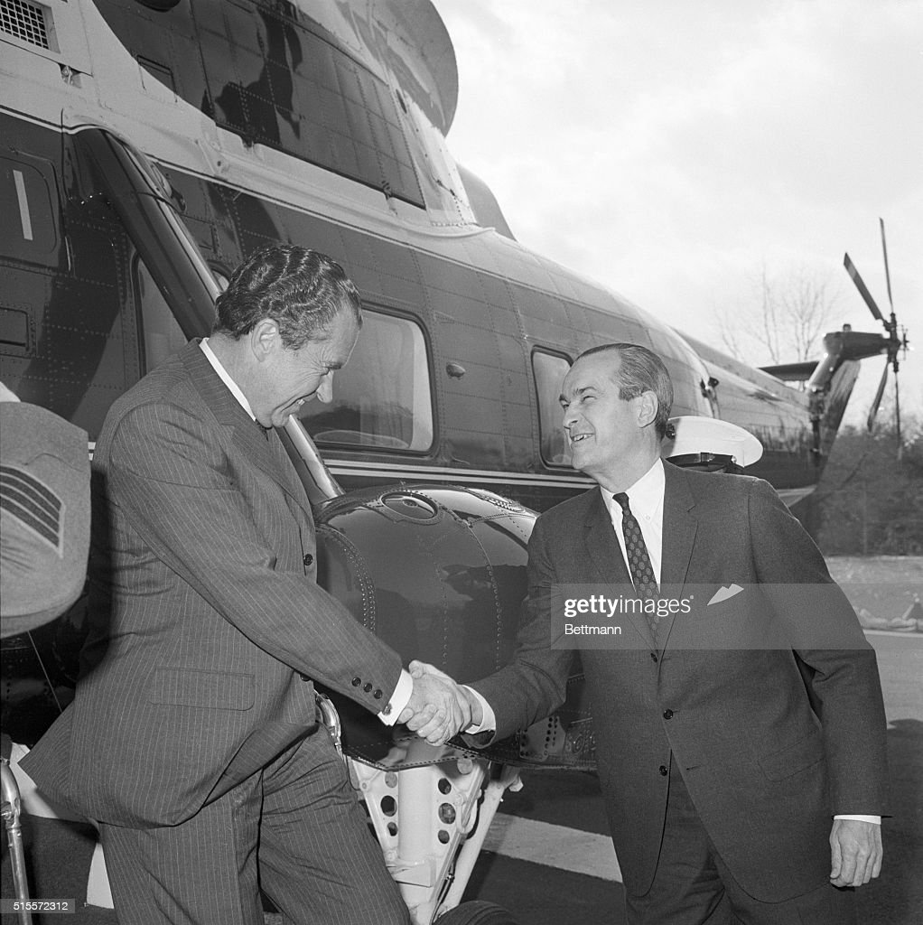 President Nixon on his visits to various government agencies here visiting the CIA He shakes hands with CIA Director Richard Helms 3/7/1969