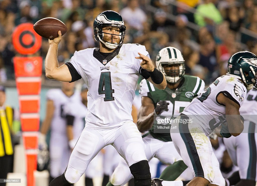 McLeod Bethel-Thompson #4 of the Philadelphia Eagles throws a pass in the fourth quarter against the New York Jets at Lincoln Financial Field on September 1, 2016 in Philadelphia, Pennsylvania. The Eagles defeated the Jets 14-6.