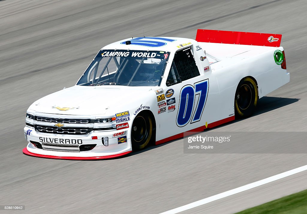 BJ McLeod, driver of the #7 Chevrolet, practices for the NASCAR Camping World Truck Series 16th Annual Toyota Tundra 250 on May 05, 2016 in Kansas City, Kansas.
