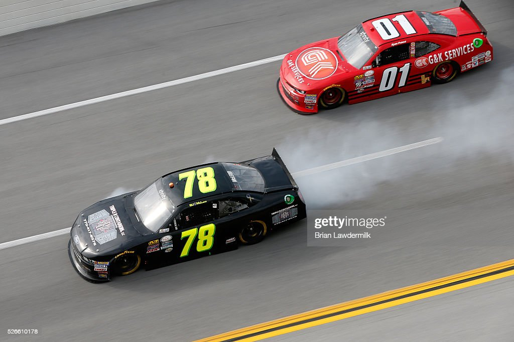 BJ McLeod, driver of the #78 Triple R Containers LLC Ford, has an on track incident during the NASCAR XFINITY Series Sparks Energy 300 at Talladega Superspeedway on April 30, 2016 in Talladega, Alabama.