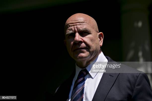 HR McMaster national security advisor arrives to attend a joint statement with US President Donald Trump and Moon Jaein South Korea's president not...