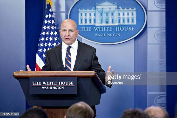 HR McMaster national security advisor speaks during a White House press briefing in Washington DC US on Thursday Nov 2 2017 President Donald Trump...