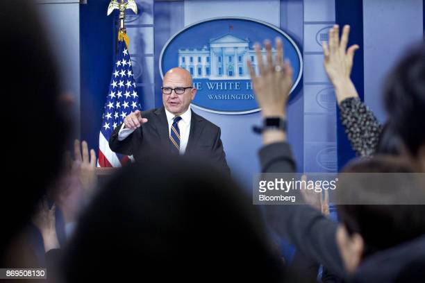 HR McMaster national security advisor takes a question during a White House press briefing in Washington DC US on Thursday Nov 2 2017 President...