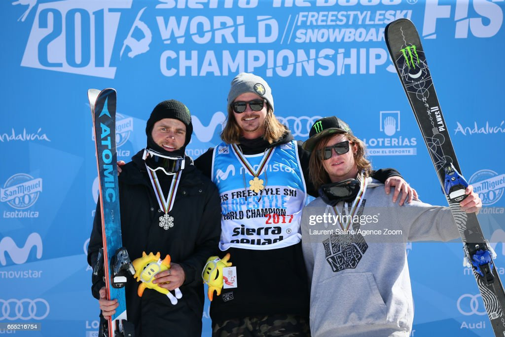 Mcrae Williams of USA wins the gold medal, Gus Kenworthy of USA wins the silver medal, James Woods of Great Britain wins the bronze medal during the FIS Freestyle Ski & Snowboard World Championships Slopestyle (FS) on March 19, 2017 in Sierra Nevada, Spain