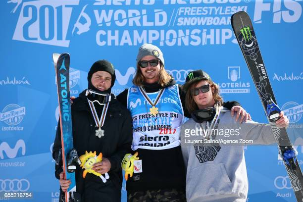 Mcrae Williams of USA wins the gold medal Gus Kenworthy of USA wins the silver medal James Woods of Great Britain wins the bronze medal during the...