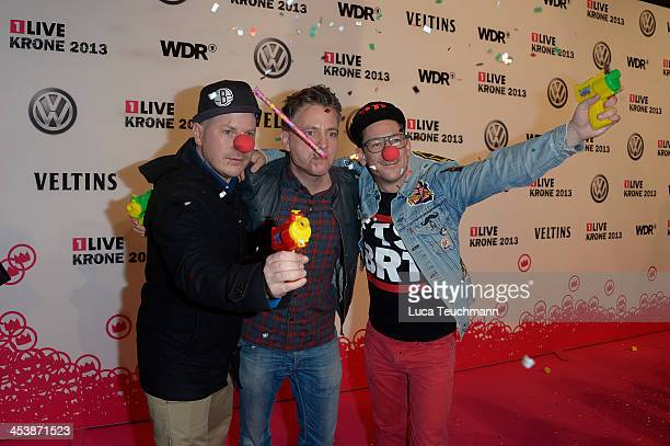 MCs Koenig Boris Dokter Renz and Bjoern Beton of the German Hip Hop band Fettes Brot attend the '1Live Krone' at Jahrhunderthalle on December 5 2013...