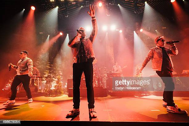 MCs Koenig Boris Doktor Renz and Bjoern Beton of hiphop group Fettes Brot perform live on stage during a concert at Tempodrom on November 24 2015 in...