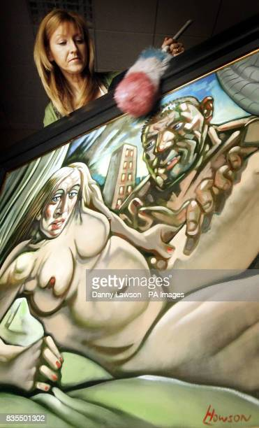 McTear's employee Alison Clements with Madonna Guy painted in 2005 an oil painting by acclaimed Scots artist Peter Howson depicting Madonna in the...