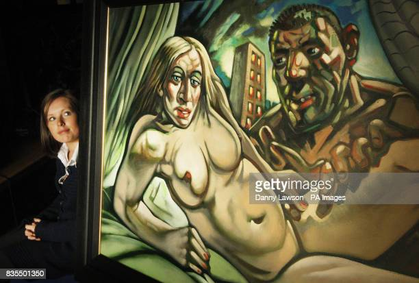 McTear's employee Magda Ketterer with Madonna Guy painted in 2005 an oil painting by acclaimed Scots artist Peter Howson depicting Madonna in the...