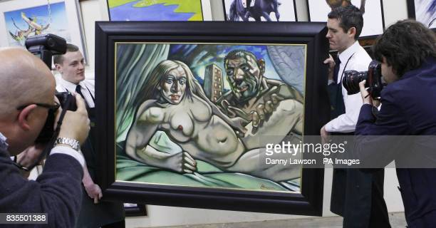 McTear's employees carry Madonna Guy painted in 2005 an oil painting by acclaimed Scots artist Peter Howson depicting Madonna in the nude with her...