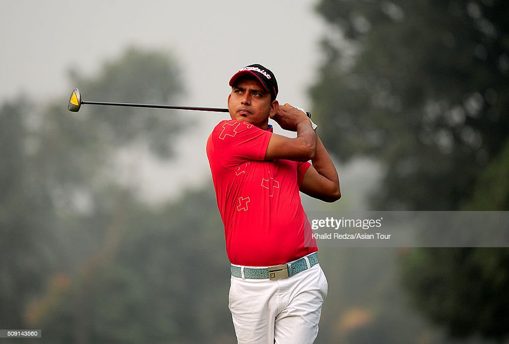 Md Dulal Hossain of Bangladesh plays a shot during practice ahead of the Bashundhara Bangladesh Open at Kurmitola Golf Club on February 9, 2016 in Dhaka, Bangladesh.