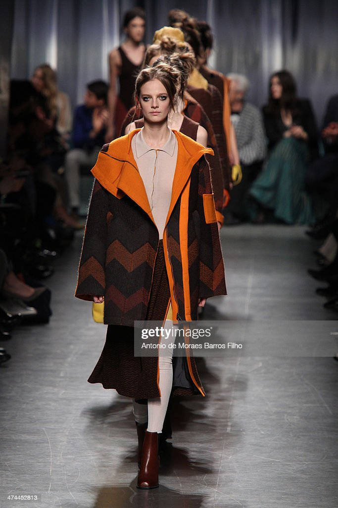 Mdels walk the runway during the Missoni show as a part of Milan Fashion Week Womenswear Autumn/Winter 2014 on February 23, 2014 in Milan, Italy.
